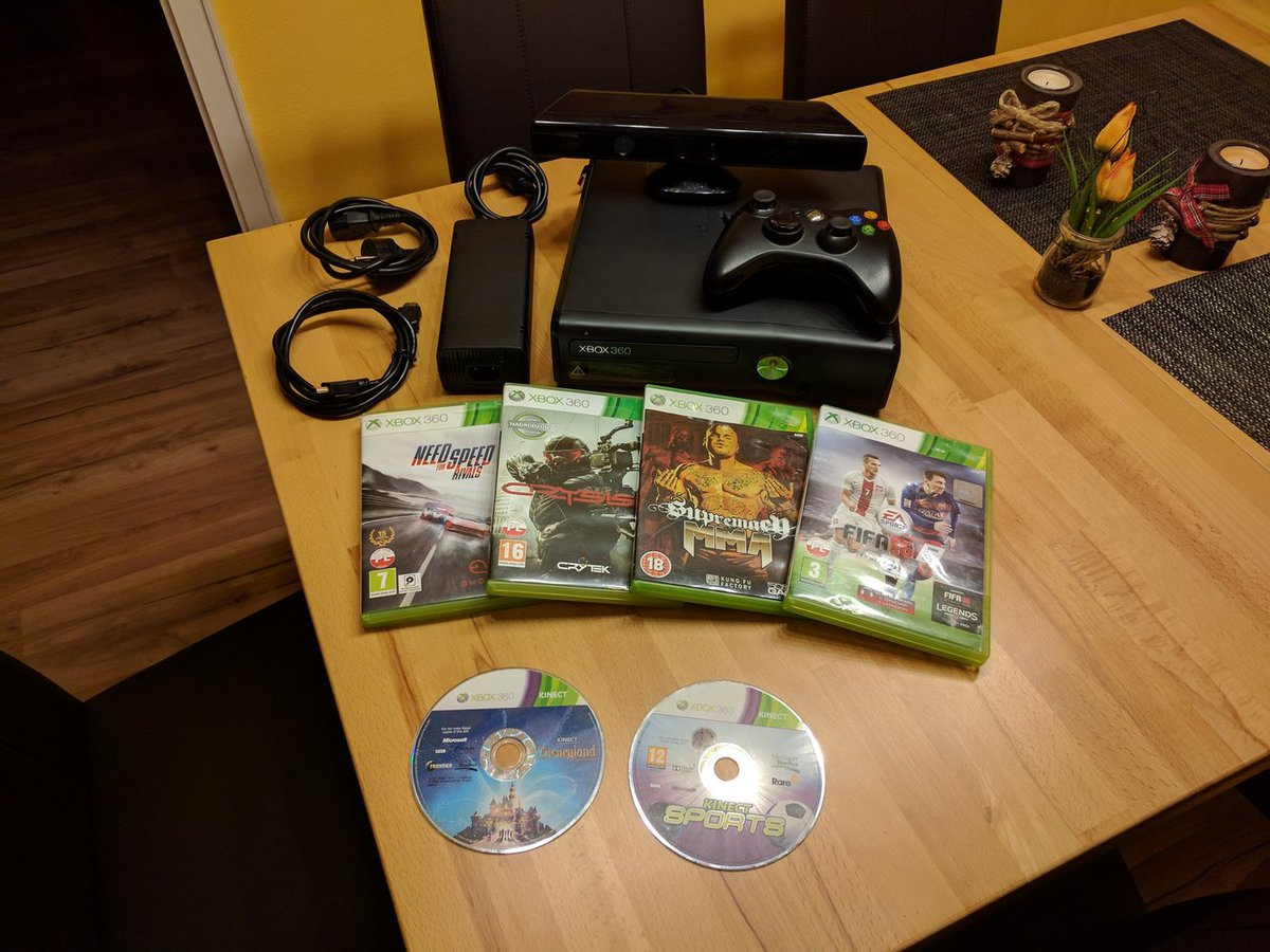 Xbox 360 S, Controller, Kinect i 6 gier